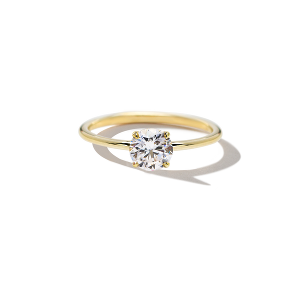 18K Yellow Gold Solitaire Round Diamond Engagement Ring