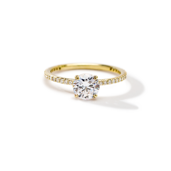 18K Yellow Gold Round Pave Solitaire Engagement Ring