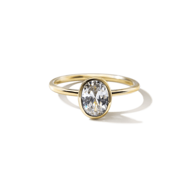 18K Yellow Gold Bezel Oval Diamond Engagement Ring