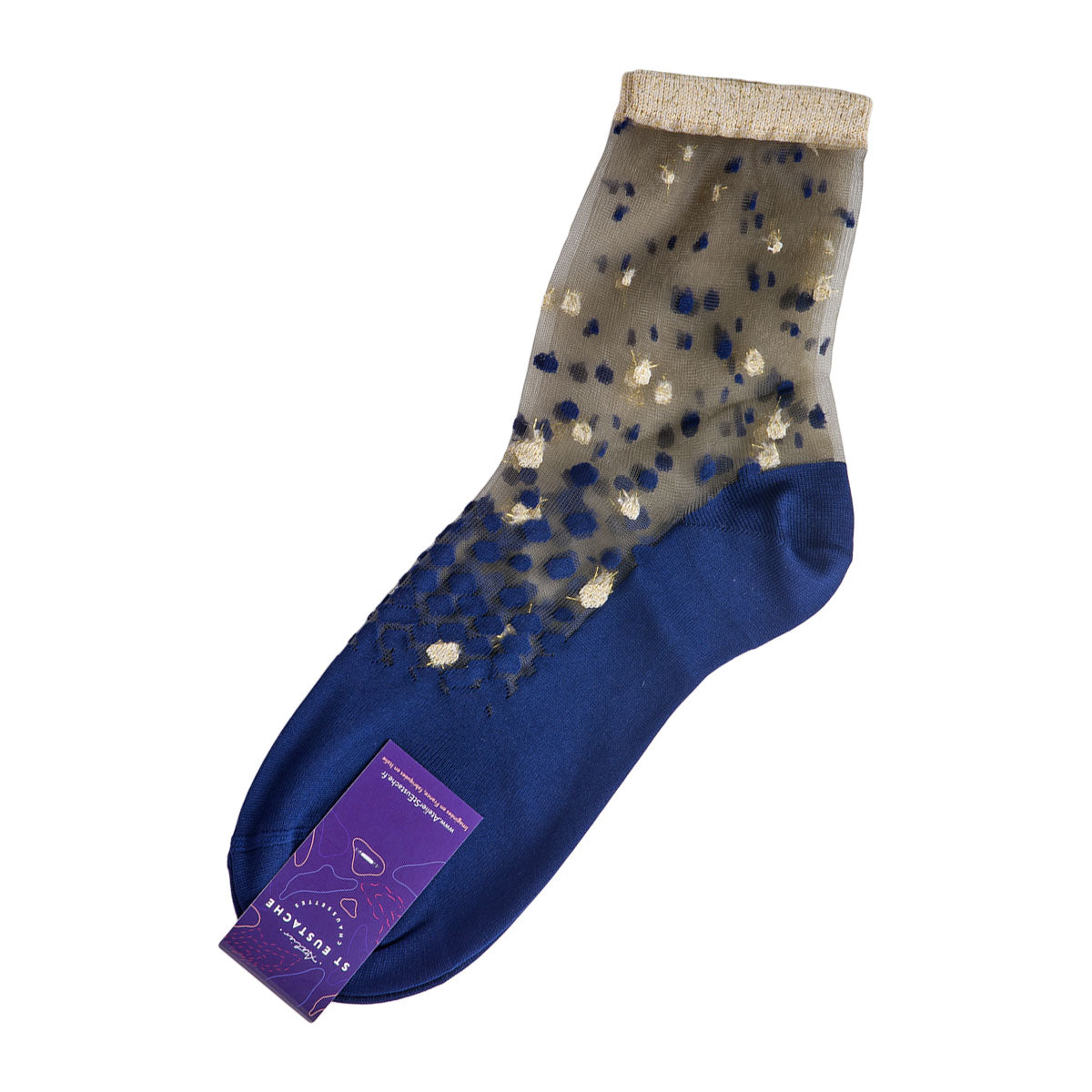 Nakameguro Blue and Gold Transparent Socks