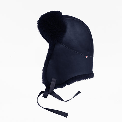 Sheepskin Dark Blue Aviator Hat
