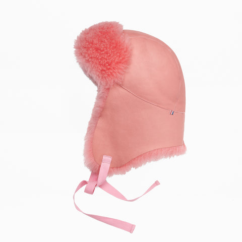 Sheepskin Bubblegum Pink Aviator Hat