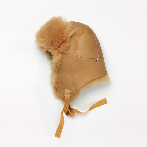 Sheepskin Camel Aviator Hat