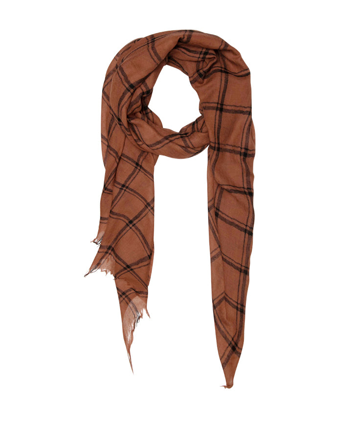 Brown and Black Check Scarf