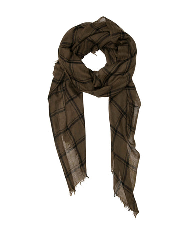 Olive Green and Black Check Scarf