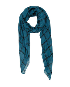 Petrol Blue and Black Check Scarf