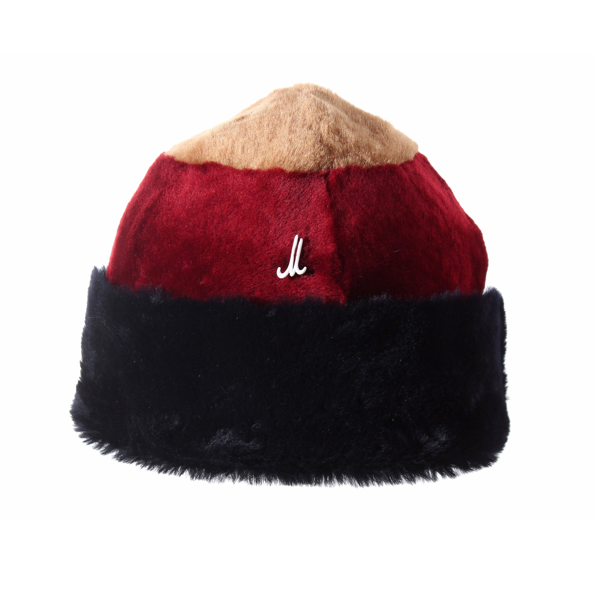 Beanie Hat in Camel, Dark Red and Dark Blue