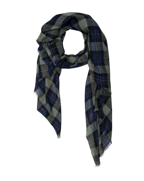 Green, Blue and Black Highland Check Scarf