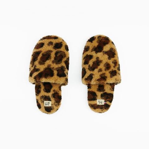 Sheepskin Leopard Hotel Slippers