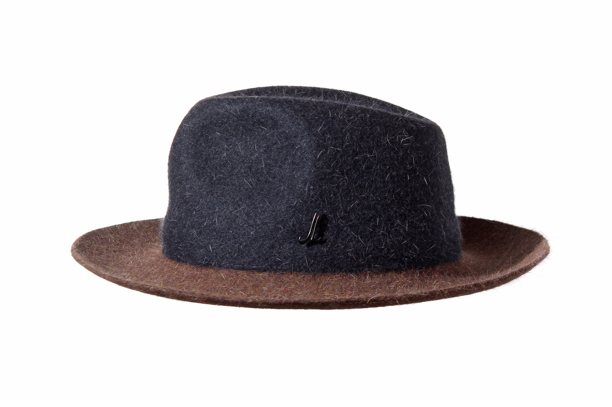 Dark Blue and Brown Unisex Brimmed Hat
