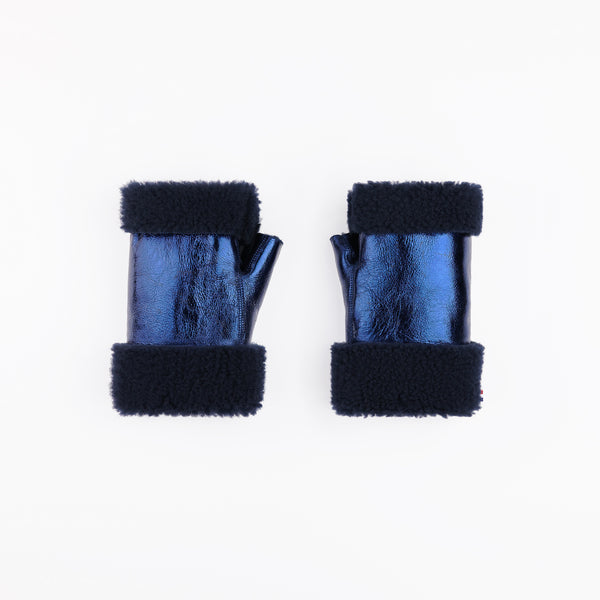 Sheepskin Metallic Navy Fingerless Mittens