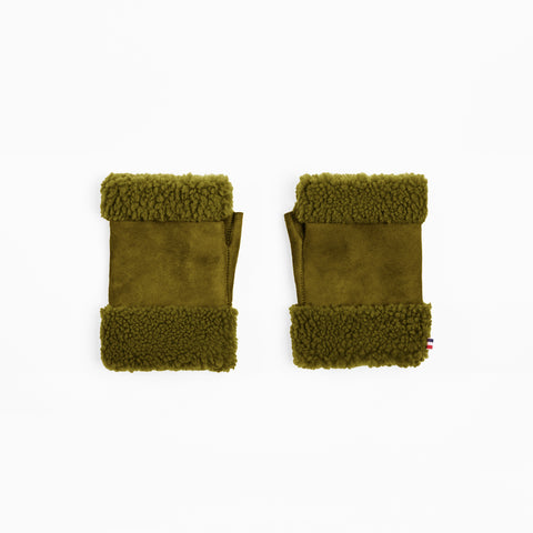Sheepskin Olive Green Fingerless Mittens