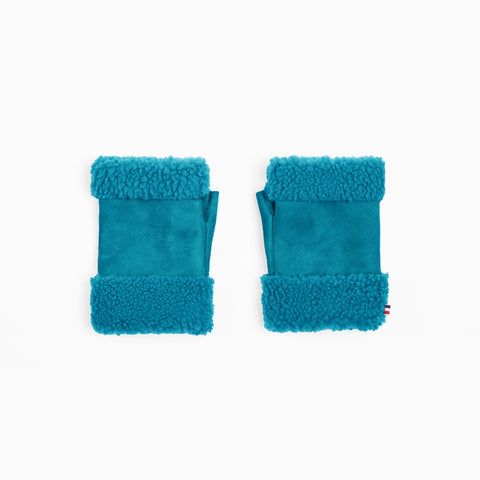 Sheepskin Turquoise Fingerless Mittens