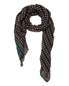 Black, Beige and Petrol Blue Loose Woven Scarf