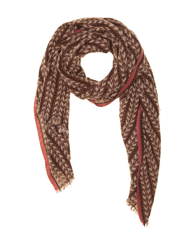 Brown, Beige, Black and Soft Pink Loose Woven Scarf