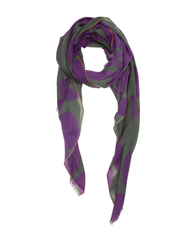 Purple and Green Olive Leaf Scarf