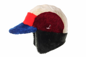 Beige, Red, Orange, Green and Royal Blue Unisex Fur Cap