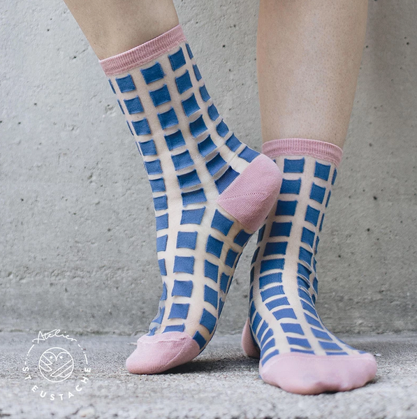 Ginza Blue and Pink Transparent Socks