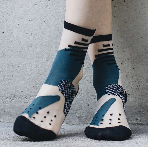 Tokyo Green, Black and White Transparent Socks