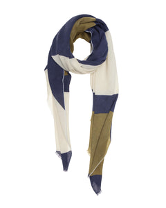Khaki, Dark Blue and Taupe Geometric  Scarf