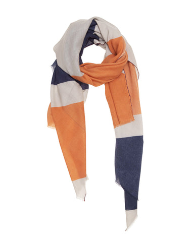 Orange, Blue and Taupe Geometric  Scarf