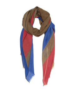 Dark Red, Royal Blue and Khaki Geometric  Scarf