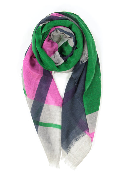 Bright Pink, Bright Green, Blue and Grey Scarf