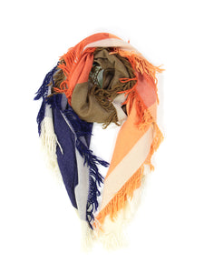 Orange, Khaki and Blue Scarf