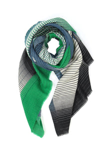 Emerald Green, Blue Grey and Black Graphic Print Scarf