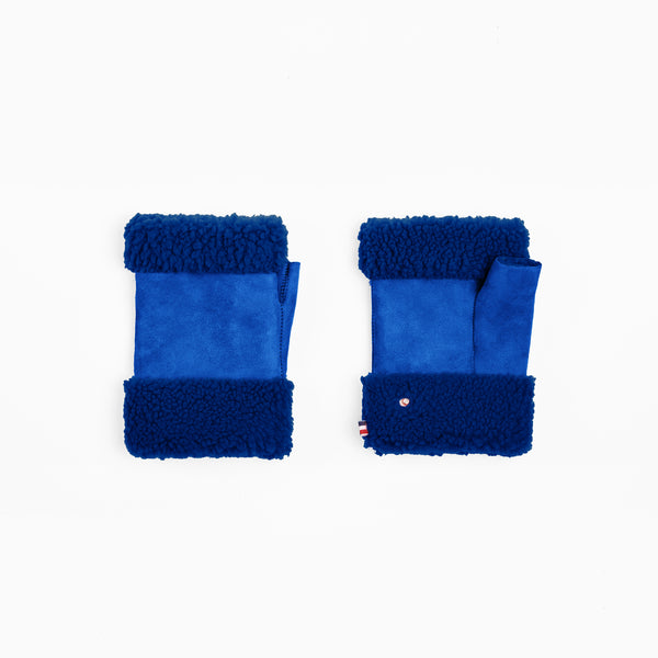 Sheepskin Bright Blue Fingerless Mittens