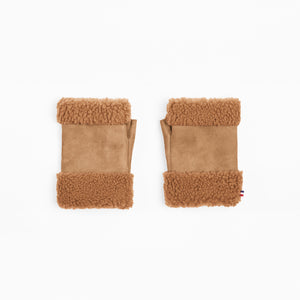 Sheepskin Camel Fingerless Mittens