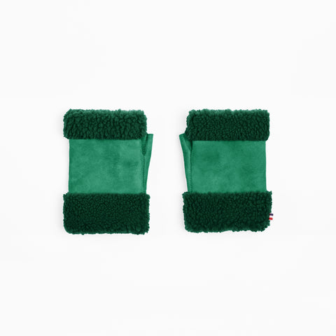 Sheepskin Emerald Green Fingerless Mittens