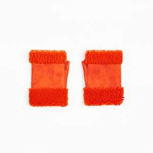 Sheepskin Bright Orange Fingerless Mittens