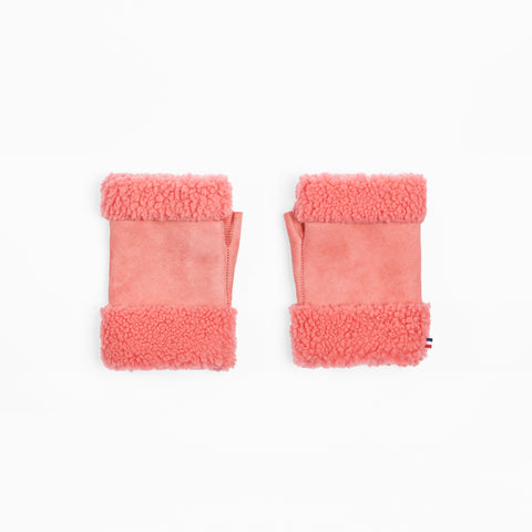 Sheepskin Bubblegum Pink Fingerless Mittens