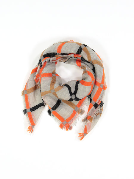 Orange, Ochre, Black and Grey Scarf