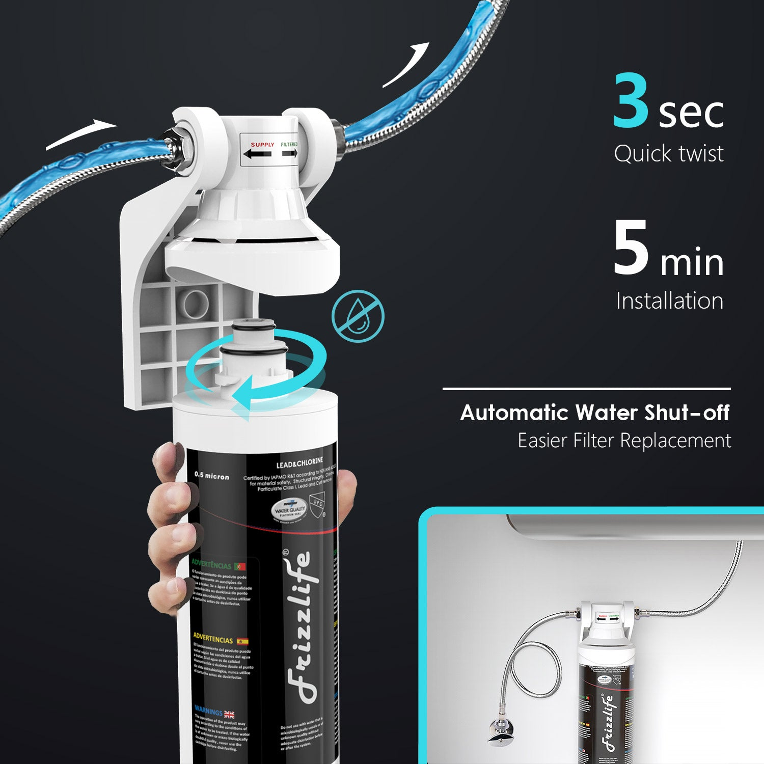 Frizzlife Mk99 Under Sink Water Filter Removes 99 Lead Chlorine 0