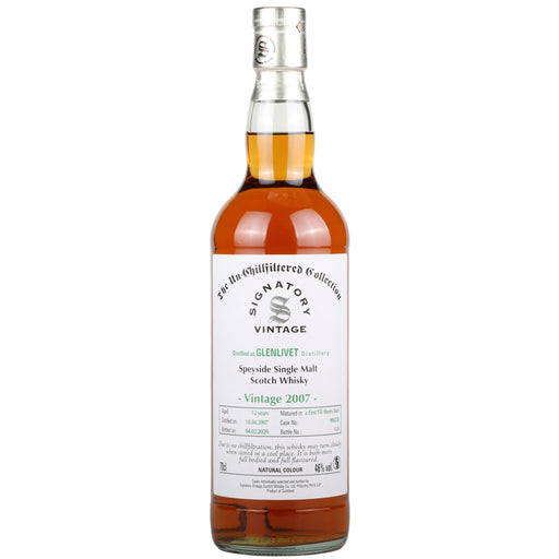 2007 Signatory Glenlivet 12 Years Speyside Single Malt Scotch Whisky 2007 46%