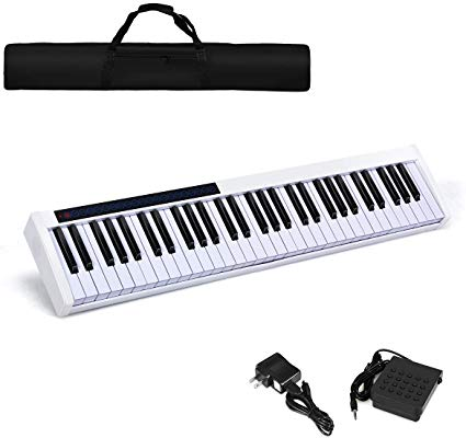 61-Key Portable Touch Sensitive Keys Digital Piano (White)