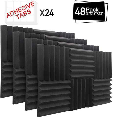 "48 Pack Acoustic Foam Panels, 12""X 12""X 2"""