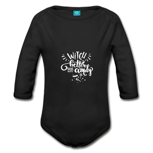 Witch Better Have My Candy Organic Long Sleeve Baby Bodysuit - black