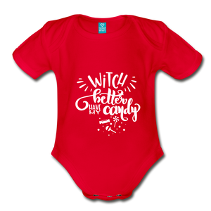 Witch Better Have My Candy Organic Short Sleeve Baby Bodysuit - red