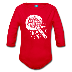 Official Candy Tester Organic Long Sleeve Baby Bodysuit - red