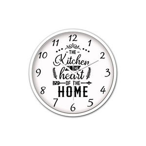 The Kitchen is The Heart Of The Home Non-Ticking Silent Wall Clock with Modern and Nice Design for Wall Decoration (White)