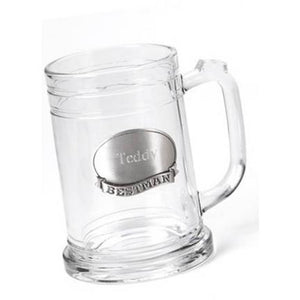 Glass Mug w/ Pewter Medallion