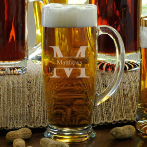 Personalized Beer Mugs - Glass - Slim - Monogrammed - 18 oz.