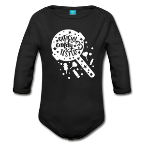 Official Candy Tester Organic Long Sleeve Baby Bodysuit - black