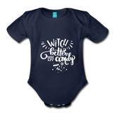 Witch Better Have My Candy Organic Short Sleeve Baby Bodysuit - dark navy