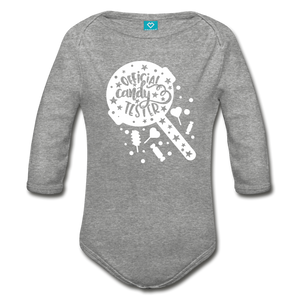 Official Candy Tester Organic Long Sleeve Baby Bodysuit - heather gray