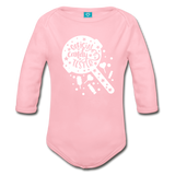 Official Candy Tester Organic Long Sleeve Baby Bodysuit - light pink