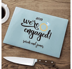 Personalized We're Engaged Cutting Board